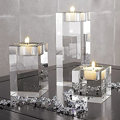 cheap Home Decor-heavy clear crystal tea light holder cuboid candle holder for party ceremony wedding centerpiece home decoration (2.4'')