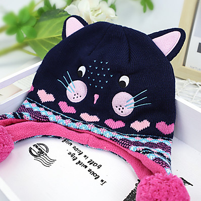 cheap Kids' Accessories-1pcs Kids Unisex Basic Cat Animal Animal Pattern / Knitted Cotton Hats & Caps Purple S / M / L