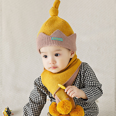 cheap Kids' Accessories-2pcs Toddler / Infant Unisex Active Patchwork Organic Cotton / Polyester Hats & Caps / Scarves Blue / Red / Yellow One-Size