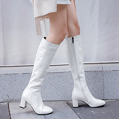 cheap Boots-Women's Boots Block Heel Boots Block Heel Round Toe Knee High Boots Sexy Daily PU Solid Colored White Black Red