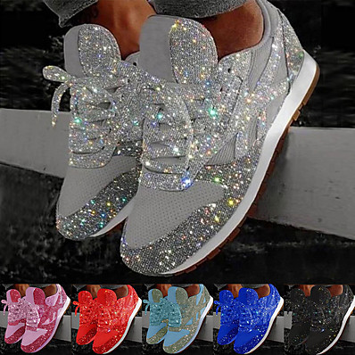 cheap Sneakers-Women's Trainers Athletic Shoes Sneakers Sequins Bling Bling Sneakers Silver Flat Heel Round Toe Sporty Casual Daily Outdoor Tennis Shoes Walking Shoes Mesh Sequin Color Block Solid Colored Black Red