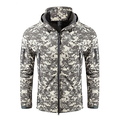 cheap Hunting & Nature-Nuckily Men's Hoodie Jacket Hunting Jacket Outdoor Windproof Warm Soft Comfortable Winter Camo Solid Colored Jacket Polyester Camping / Hiking Hunting Fishing Digital Desert Python Black Army Green