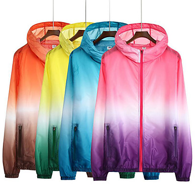 cheap Camping, Hiking & Backpacking-Hiking Jacket Hiking Skin Jacket Hiking Windbreaker Women's Men's Outdoor Waterproof UV Sun Protection Windproof Sunscreen Hoodie Ultraviolet Resistant Jacket Top Blue Yellow Pink Orange Camping
