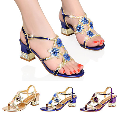 cheap Shoes-Women's Sandals Glitter Crystal Sequined Jeweled Plus Size Flare Heel Open Toe Casual Daily Party & Evening PU Rhinestone Floral Summer Purple Blue Gold