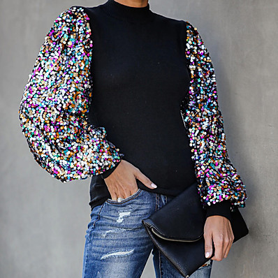 cheap Knit Tops-women fashion mock neck lantern sleeve sequins colorblock insert blouse m black