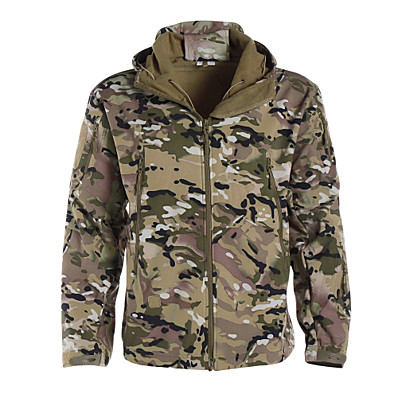 cheap Hunting & Nature-Men's Hunting Jacket Outdoor Thermal Warm Adjustable Waterproof Windproof Autumn / Fall Spring Winter Camo Jacket Zip Top Softshell Jacket Softshell Polyester Long Sleeve Camping / Hiking Hunting