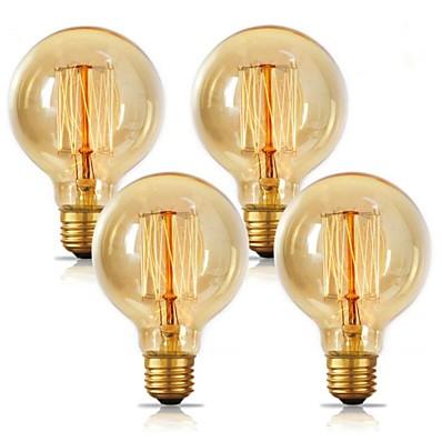 cheap Light Bulbs-4pcs 2pcs 1pc G80 Incandescent Vintage Edison Light Bulb 40W E26 E27 Warm White 2300k Retro Dimmable Antique Tungsten 220-240V for Home Hotel Bistro