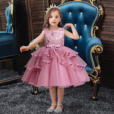 preiswerte KINDER-Kinder kleine Mädchen Partykleid einfarbig geschichtetes Kleid Mesh Patchwork Bogen blau rot errötend rosa knielang ärmellose grundlegende süße Kleider regelmäßige Passform