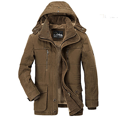 cheap Camping, Hiking & Backpacking-Men's Cotton Hoodie Jacket Military Tactical Jacket Hiking Fleece Jacket Winter Outdoor Thermal Warm Windproof Fleece Lining Multi Pockets Windbreaker Parka Trench Coat Skiing Camping / Hiking Fishing
