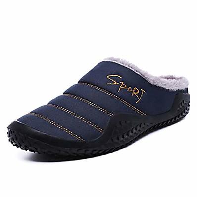 cheap Home Textiles-Men's Slippers Anti-slip House Winter Slippers Flush Warm Flip-Flops Daily Home Walking Shoes Cotton Warm Non-slipping Black Dark Blue Winter