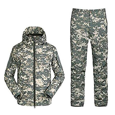 cheap Hunting & Nature-Men's Camouflage Hunting Jacket Hiking Jacket with Pants Softshell Jacket Outdoor Thermal Warm Waterproof Windproof Quick Dry Autumn / Fall Winter Clothing Suit Cotton Camping / Hiking Hunting Casual