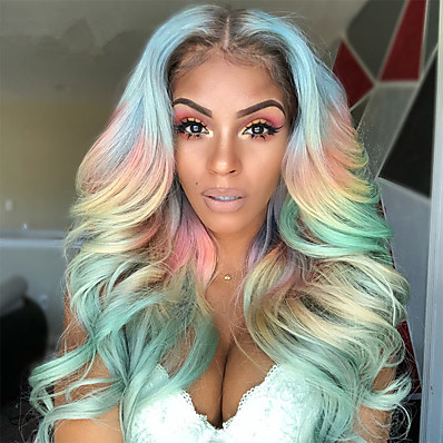 cheap Beauty & Hair-Wigs Female Color Chemical Fiber Hair Cosplay Rainbow Wig Bleaching And Dyeing Mixed Colors In The Middle Of Large Wavy Long Curly Hair Holiday Party Wig