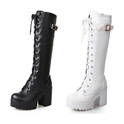 cheap Boots-Women's Block Heel Boots Block Heel Chunky Heel Knee High Boots Slouch Boots Punk & Gothic Dress Leatherette Lace-up Solid Colored White Black