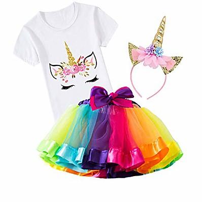 cheap Girls' Clothing-3pcs girls unicorn outfits set rainbow tutu skirt+cotton unicorn printing shirt+headband