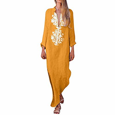 cheap Valentine's Gifts-Women's Shift Dress Maxi long Dress Light Blue Yellow Gray khaki Long Sleeve Print Fall Spring V Neck Casual / Daily 2021 S M L XL 2XL 3XL / Cotton / Cotton