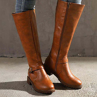 cheap Boots-Women's Boots Riding Boots Chunky Heel Round Toe Knee High Boots Classic Vintage Daily Leather Buckle Solid Colored Winter Black Yellow Brown
