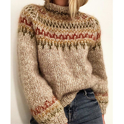 cheap Knit Tops-Women's Pullover Sweater Jumper Color Block Geometric Knitted Stylish Basic Casual Long Sleeve Regular Fit Sweater Cardigans Fall Winter Crew Neck Gray Beige / Holiday