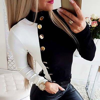 cheap Knit Tops-Women's Pullover Color Block Knitted Stylish Long Sleeve Loose Sweater Cardigans Fall Winter Crew Neck Blue Black Red