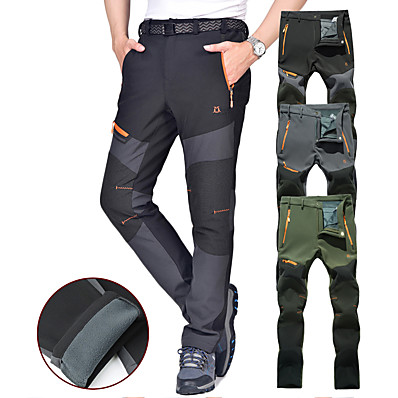 cheap Camping, Hiking & Backpacking-Men's Hiking Pants Trousers Softshell Pants Winter Outdoor Thermal Warm Waterproof Windproof Breathable Fleece Pants / Trousers Bottoms Dark Grey Black Army Green Light Grey Camping / Hiking Hunting