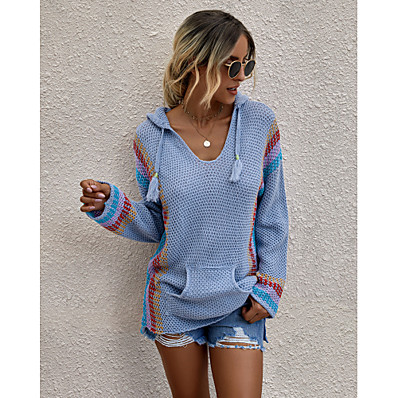 cheap Knit Tops-Women's Stylish Knitted Solid Color Pullover Long Sleeve Loose Sweater Cardigans Hooded Fall Winter White Blue Orange