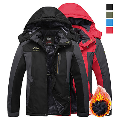 cheap Camping, Hiking & Backpacking-Men's Hiking Jacket Ski Jacket Hiking Windbreaker Winter Outdoor Thermal Warm Windproof Breathable Rain Waterproof Hoodie Winter Jacket Top Fleece Single Slider Camping / Hiking Hunting Fishing Black