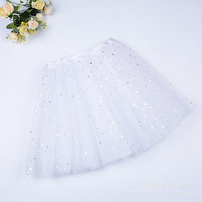 cheap Girls' Clothing-Kids Girls' Skirt White Blue Purple Solid Colored Sequins