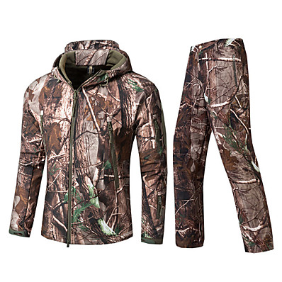 cheap Hunting & Nature-Men's Softshell Jacket Camouflage Hunting Jacket Hunting Jacket with Pants Outdoor Autumn / Fall Winter Thermal Warm Waterproof Windproof Fast Dry Clothing Suit Cotton Camping / Hiking Hunting Casual