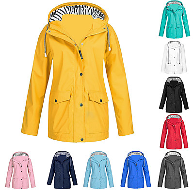 cheap Camping, Hiking & Backpacking-Women's Hoodie Jacket Rain Jacket Friesennerz Outdoor Waterproof Windproof Solid Rain Lightweight Plus Size Breathable Quick Dry Coat Top  Camping / Hiking Hunting Fishing Light Blue Pink ArmyGreen