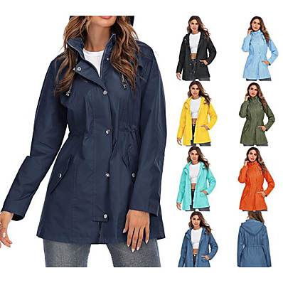cheap Camping, Hiking & Backpacking-Women's Rain Jacket Waterproof Long Hoodie Jacket Raincoat Summer Outdoor Thermal Warm Windproof Quick Dry Lightweight Parka Outerwear Windbreaker Trench Coat Top Camping Hunting Casual Navy