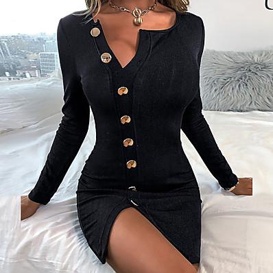 cheap Valentine's Gifts-Women's Sheath Dress Short Mini Dress Black Long Sleeve Solid Color Split Ruched Button Fall V Neck Casual Sexy Club Slim 2021 S M L XL XXL