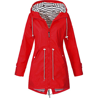 cheap Camping, Hiking & Backpacking-Women's Hoodie Jacket Hiking Jacket Outdoor Thermal Warm Windproof Breathable Wear Resistance Windbreaker Raincoat Top Camping / Hiking Fishing Casual Black Blue Red Yellow Navy Blue