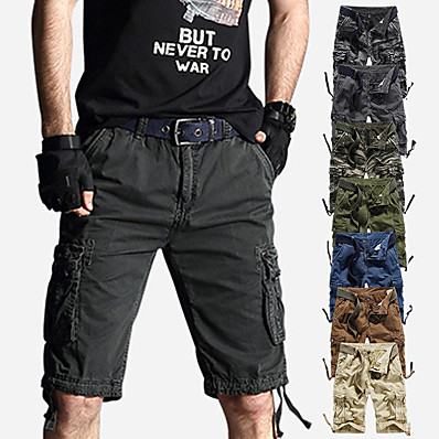 "cheap Camping, Hiking & Backpacking-Men's Hiking Shorts Hiking Cargo Shorts Solid Color Summer Outdoor 10"" Loose Breathable Sweat-wicking Multi-Pocket Wear Resistance Cotton Shorts Bottoms Light Coffee Jungle camouflage Grey Khaki Dark"