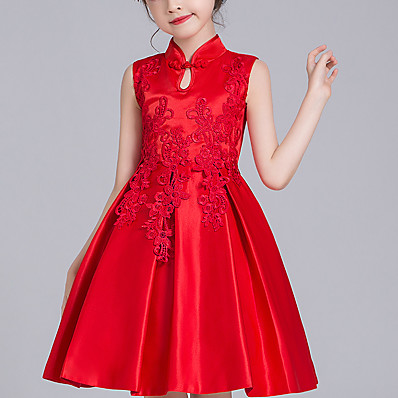 cheap Kids-Kids Little Girls' Dress Solid Colored Mesh Red Above Knee Long Sleeve Active Cute Dresses Children's Day Regular Fit