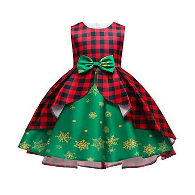 cheap Kids-Kids Toddler Little Girls' Dress Patchwork Snowflake Christmas Santa Claus Bow Print Green Red Above Knee Sleeveless Active Cute Dresses Christmas Slim