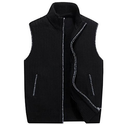 cheap Knit Tops-Men's Cardigan Vest Solid Color Knitted Rabbit Fur Sleeveless Sweater Cardigans Stand Collar Blue Wine Light Brown