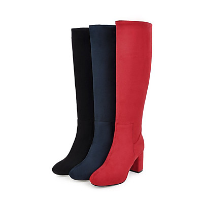 cheap Boots-Women's Boots Block Heel Boots Block Heel Round Toe Knee High Boots Casual Vintage Daily Leatherette Solid Colored Winter Black Red Dark Blue
