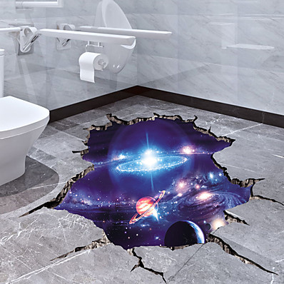 cheap Wall Stickers-Cosmic Galaxy Wall Decals 3D Magic Milky Way Outer Space Satellite Planet Stickers Murals Wallpaper for Home Decor Floor Ceiling Living Room Kids Room 1pc 64*40cm