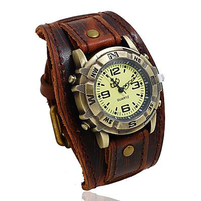 cheap Men's Watches-leather watch casual quartz cuff punk retro buckle strap for men