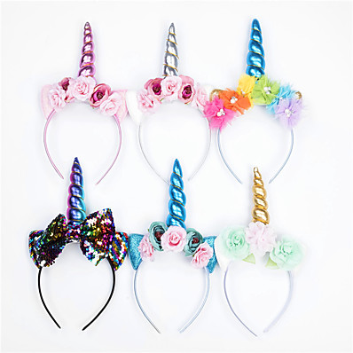 cheap Kids' Accessories-1pcs Toddler Girls' Sweet Unicorn Floral Floral Style Hair Accessories Blue / Blushing Pink / Gold