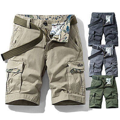 "cheap Camping, Hiking & Backpacking-Men's Hiking Shorts Hiking Cargo Shorts Solid Color Outdoor 10"" Standard Fit Multi-Pockets Quick Dry Breathable Sweat wicking Elastane Cotton Shorts Bottoms Dark Grey Army Green Light Grey Khaki"