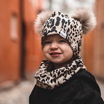 cheap Kids' Accessories-2pcs Infant Unisex Active Leopard / Geometric / Color Block Leopard Print Hats & Caps White / Black / Blushing Pink One-Size