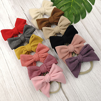 cheap Kids' Accessories-1pcs Toddler / Infant Girls' Sweet Solid Colored Bow Hair Accessories Black / Purple / Red One-Size