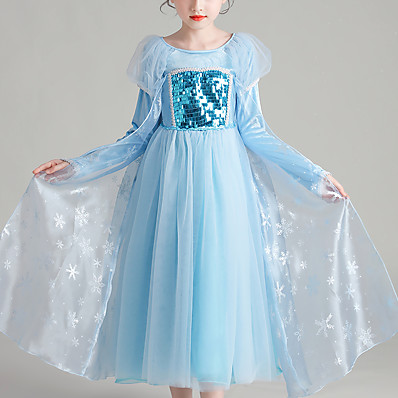 cheap Kids-Kids Little Dress Girls' Snowflake Sequins Mesh Lace Blue Midi Long Sleeve Cute Dresses Christmas Regular Fit