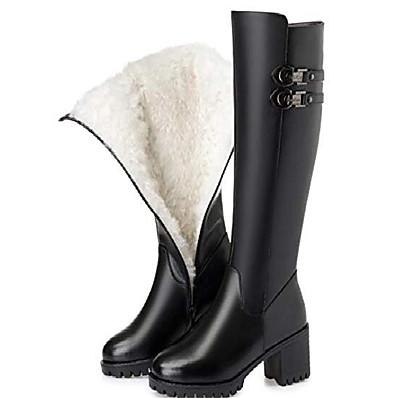 preiswerte Stiefel-Damen Echtleder Winterstiefel Wolle High Heel High Warm Schneeschuhe Schwarze Wolle 6
