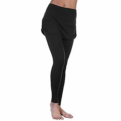 cheap Valentine's Gifts-women's high waist leggings with attached ruched side mini skirt, 041_l-xl
