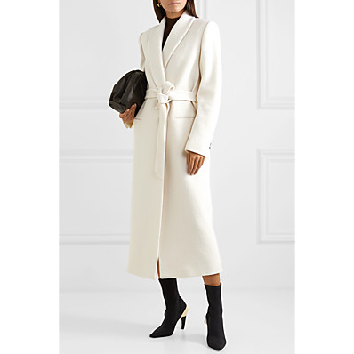cheap Valentine's Gifts-Women's Coat Fall Winter Spring Street Daily Date Long Coat Windproof Fashion Regular Fit Basic Fashion Modern Jacket Long Sleeve Belted Solid Colored White