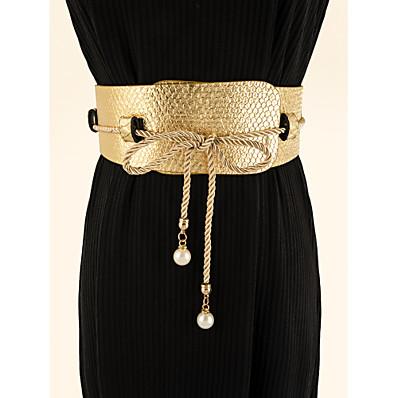 cheap Accessories-Women's Wide Belt Gold Party Wedding Street Daily Belt Pure Color / Work / Fall / Winter / Spring / Summer