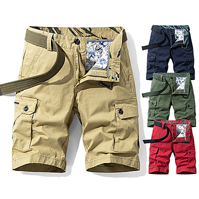 """cheap Camping, Hiking & Backpacking-Men's Hiking Shorts Hiking Cargo Shorts Military Summer Outdoor 10"""" Standard Fit Multi Pockets Breathable Sweat wicking Wear Resistance Cotton Knee Length Shorts Bottoms Red Army Green Khaki Dark Blue"""