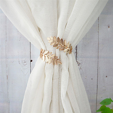 cheap Home Textiles-1 Piece Modern Style Metal Leaf Curtain Buckle Decorative Draperies Holdback