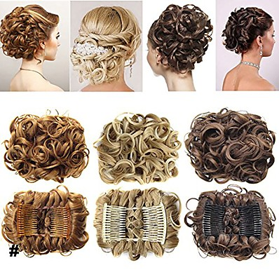 cheap Hair Extensions-short messy curly dish hair bun extension easy stretch hair combs clip in ponytail extension scrunchie chignon tray ponytail hairpieces - dark brown to light auburn